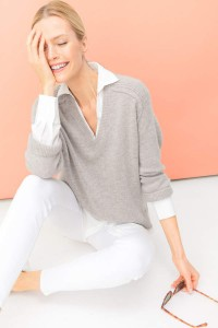 Brochu-Walker-Light-Chia-Melange-V-Neck-Layered-Pullover